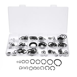 225Pcs C-Clip Snap C-type Circlip Kit External Retaining Ring Assortment Set Black