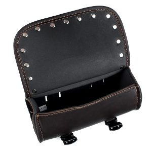 Motorcycle Front Fork Tool Saddle Bag Pouch Saddlebags Luggage Leather Barrel Dark Brown