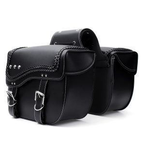 PU Leather Motorcycle Saddlebags Side Luggage Pannier Tool Storage Bag