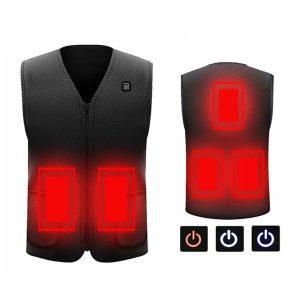 Electric Vest Heated Cloth Jacket USB Thermal Warm Heated Winter Body Warmer Ski