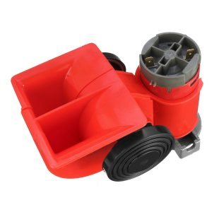 24V 300dB Red Dual Tone Electric Pump Air Loud Horn Snail Compact For Car Truck Motorcycle