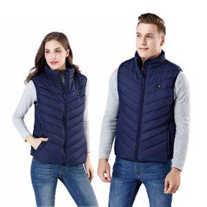 9 HeatingPads Blue USB Men Women Electric Heated Vest Jacket Coat Washable Warm