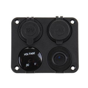 QC3.0 12V USB Charger Voltmeter Switch Lighter Socket For Car Boat Marine