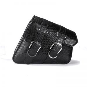 Left/Right PU Leather Motorcycle Saddlebags Luggage Saddle Pannier Bag Black Universal