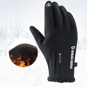 Touch Screen Gloves Zipper Thermal Winter Sports Skiing Warm Mittens Waterproof Brown