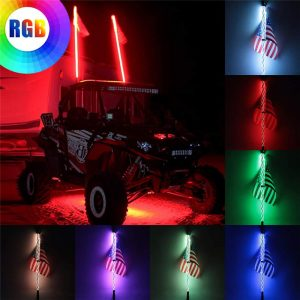 2pcs 4ft Lighted LED Whip Light 20 Color RGB Flagpole Strip Lamp With Flag & Remote For Jeep ATV UTV