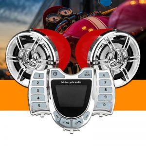 3 Inch bluetooth Motorcycle Stereo Audio Speakers Waterproof USB MP3 FM Player Clock Display