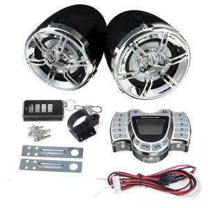 Waterproof Motorcycle LED bluetooth Handlebar Audio Alarm System LCD Clock Display FM Radio USB Stereo Amplifier Speakers