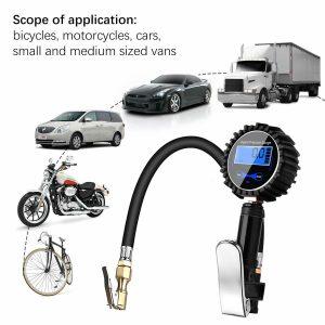 200Psi LCD Display Digital Tyre Tire Air Pressure Gauge Manometer Car Truck Bike