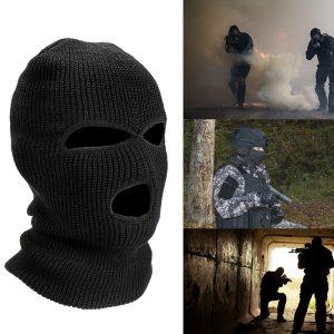 3 Hole Cycling Full Face Mask Helmet Ski Neck Sun UV Protect Outdoor Black