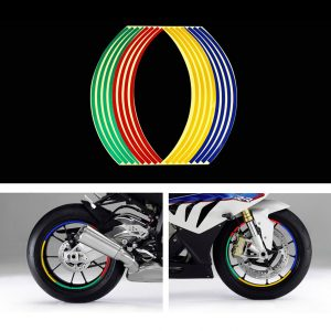 16pcs Tyre Reflective Strips Tape Styling Wheel Sticker Rim For 17Inch 18Inch Car Motorcycle Bike Tire