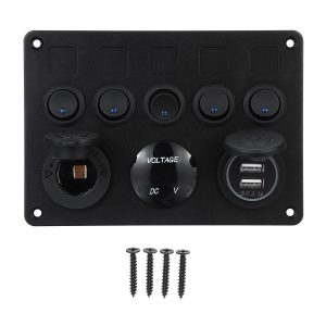 12/24V 5 Gang Blue LED Rocker Switch Panel Dual USB Car Boat Marine RV Truck ON-OFF
