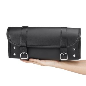 Motorcycle Front PU Leather Fork Tool Bag Saddlebag Pouch Luggage Universal