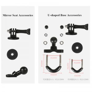 Motorcycle Outdoor Riding Driving Camera Recorder Multi-function Rearview Mirror Fixed Bracket