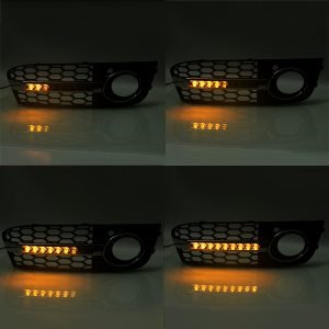 Pair Honeycomb Hex Mesh Fog Lights Cover Grille with Flowing LED Turn Signal White DRL Daytime Running For Audi A4 B8 2009-2011