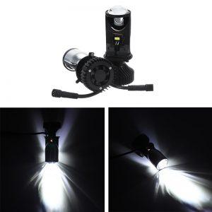 2PCS 90W LHD/RHD H4 Bi-LED Hi/Lo Mini Projector LED Headlights Lens Retrofit Bulb 12V