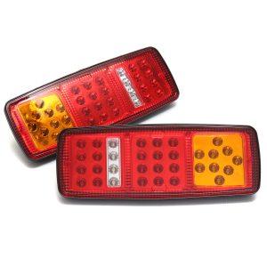 2Pcs 33LEDs Rear Tail Lights Stop Brake Reverse Turn Signal Indicator Lamps Waterproof Trailer Truck Bus Van 12V