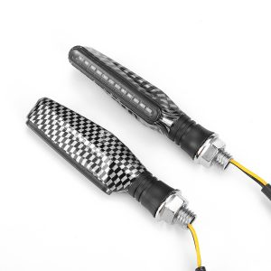 12V 2pcs Motorcycle LED Turn Signal Flowing Lights Indicator Lamps Carbon Fiber Shell