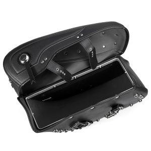 2X Motorcycle PU Leather Saddlebags Side Bag Waterproof For Davison