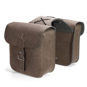 Pair Universal Motorcycle PU Leather Saddlebags Side Tool Bag Luggage Waterproof For Harley