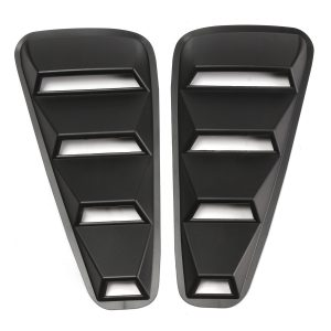1 Pair 1/4 Quarter ABS Side Window Shield Louvers Scoop Cover Vent Black For 05-2014 Mustang