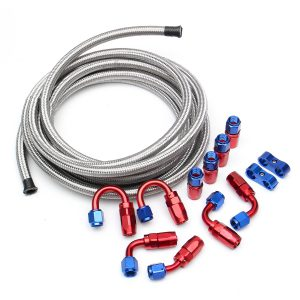 5M AN6 Braided Oil Fuel Line Hose With Fitting End Adapter Kit Set Stainless Steel