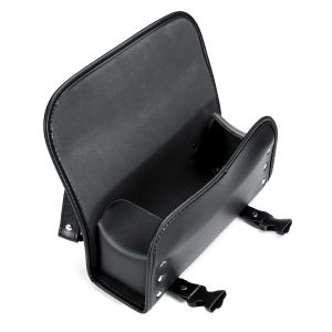 Universal Motorcycle Front PU Leather Fork Tool Bag Saddlebags Pouch Luggage