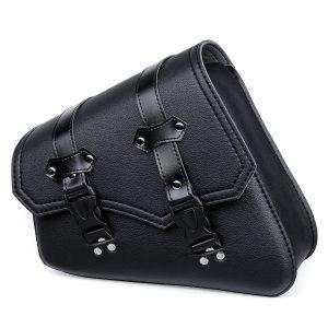 Motorcycle Saddlebags 3 Quick Release Buckle Black PU Leather Waterproof Universal