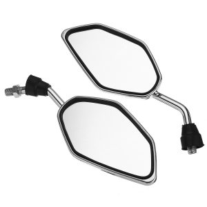 Pair 10MM Universal Motorcycle Motorbike Side Rearview Mirror Clear Aluminum New