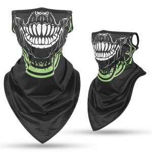 Ear Hanging Skull Face Mask Dustproof Triangle Scarf Ice Silk Breathable Outdoor CS Game Headgear Riding Windproof Anti UV
