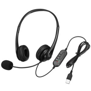 Wired USB Mic Headphones Volume Control Stereo Computer Headsets For PC Laptop