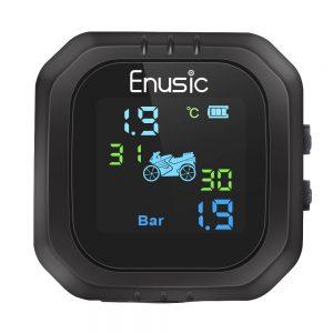 Enusic Waterproof LCD Motorcycle TPMS Tire Pressure Monitor System With 2 External Sensor