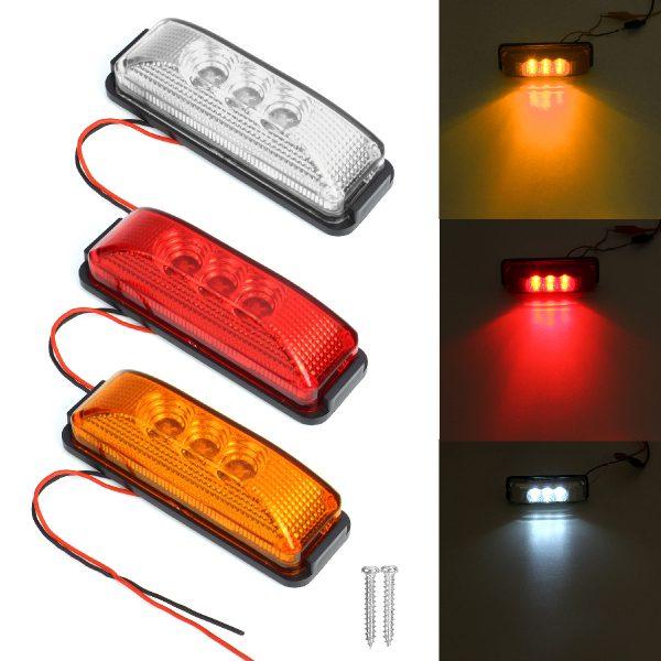3 LED Side Marker Indicators Lights Reflector Lorry Trailer RV 12-24V