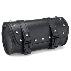 Universal Black PU Leather Motorcycle Saddle Bag Luggage Case Pannier Tool Bag