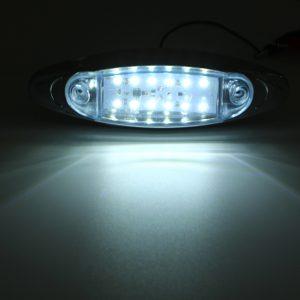 4Pcs White 24V LED Side Marker Light Flash Strobe Emergency Warning Lamp For Boat Car Truck Trailer