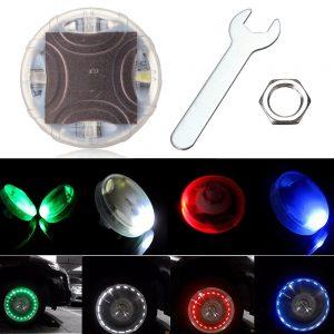 4pcs 13 Mode Solar Energy LED Motorcycle Car Auto Flash Wheel Tire Valve Cap Neon Light Lamp