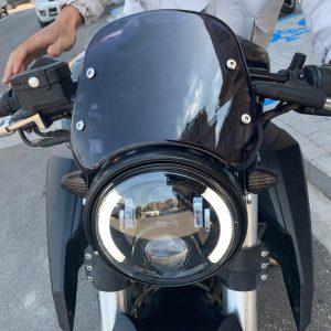 5-7inch Motorcycle Headlights Universal Windscreen Windshield Black For YAMAHA
