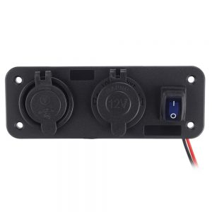 3 in 1 Dual USB Charger LED Voltmeter 12V 24V Power Socket On-Off Switch Panel Black Marine Dual USB Charger Boat Marine Motorcycle Car