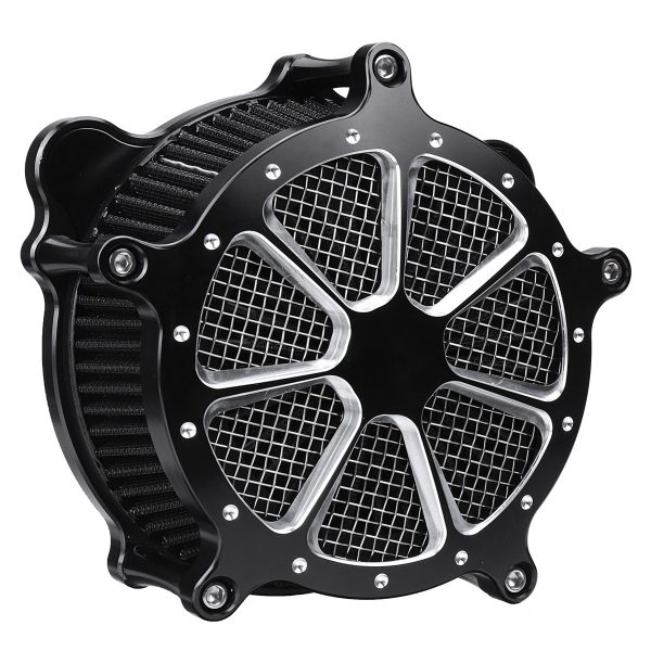 Motorcycle Air Cleaner Intake Filter System Black For Softail Touring Dyna 1993-2016