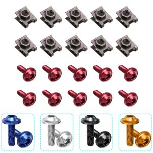 10PCS Panel Fasteners C Clips Spire Clip & Stainless Bolts Motorcycle Fairing M6