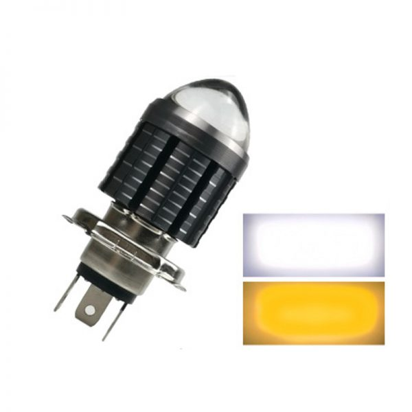 Motorcycle Electric LED Large Bulb Fish-Eye Headlight Lens Headlamp Built-in H4 Ultra Bright Near And Far Light