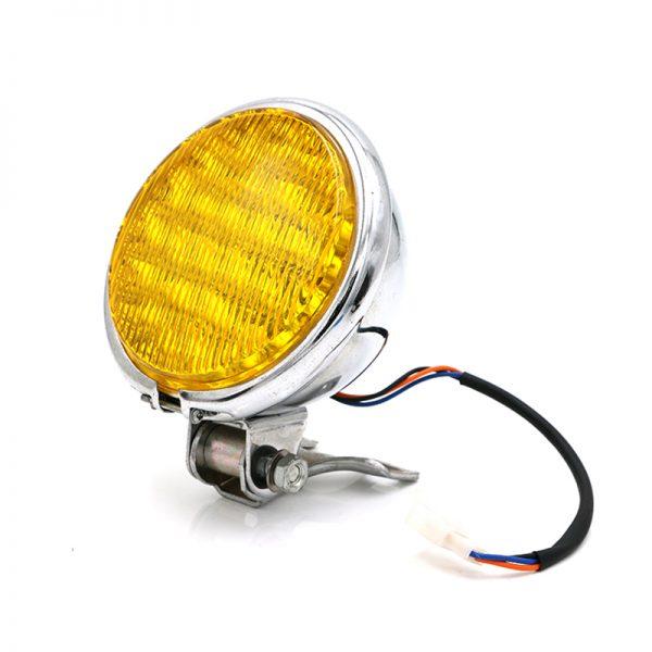 12V 55W Motorcycle LED Front Headlight Universal High-Low Beam Amber Motorbike Retro Headlamp Round Vintage Spotlight