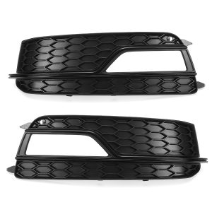 Black Front Fog Light Lamp Cover Grille Grill For Audi A5 S-Line S5 2013-2016