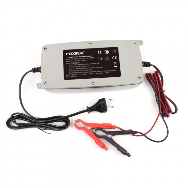 FOXSUR 12V 24V 11-Stage LCD Display Battery Charger Waterproof Truck Car Motorcycle Lead-Acid EFB GEL WET AGM Batteries