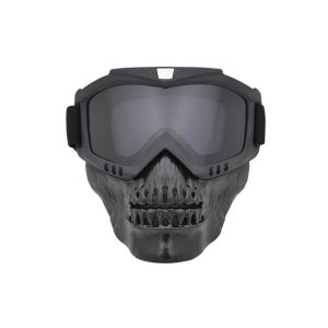 Reflective Motorcycle Skull Glasses Face Cover Outdoor Sport Bike Shield Goggles