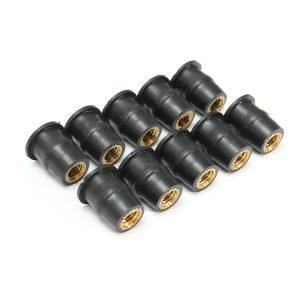 10PCS M5/M4/M6 Motorcycles Windshield Windscreen Bolts Kit Metric Rubber Well Nuts