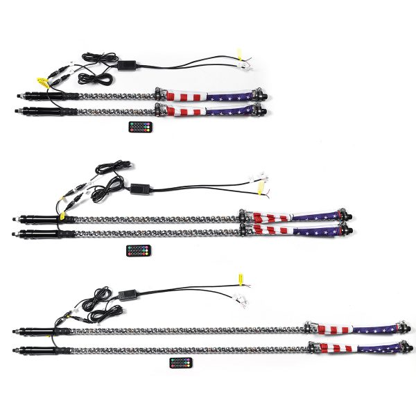 2x 3ft/4ft/5ft LED Chasing RGB Color Whip Lights With Flag & Remote Control Braking Turn Signal For ATV UTV RZR 4WD