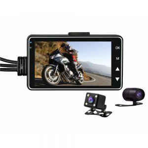3.0inch 1080 HD Waterproof Motorcycle Night Vision Dual Camera DVR Motor Dash Cam With Special Dual-track Front Rear Moto Driving Recorder Cycle Video