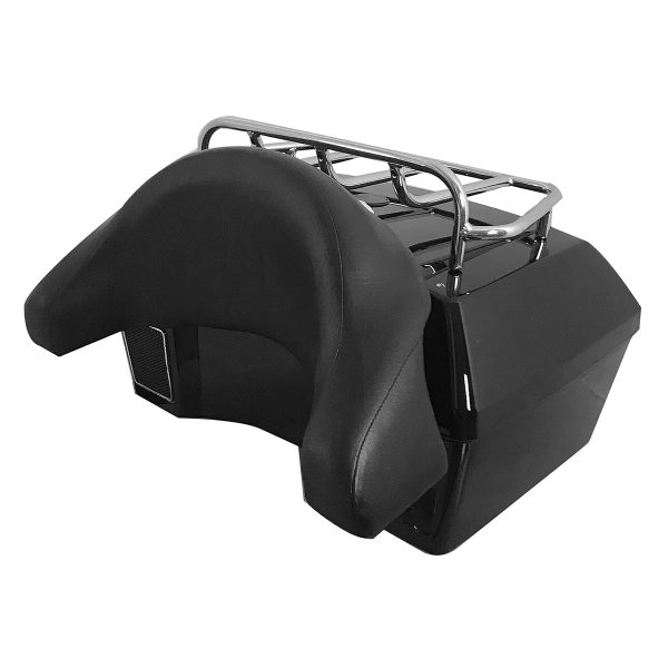 47L Motorcycle Scooter Rear Back Top Tail Box Case Luggage Trunk W/ Backrest