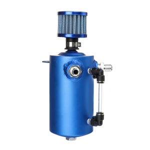 0.5L Oil Catch Tank Can Reservoir Breather Blue Filter Alloy For Car Racing Engine